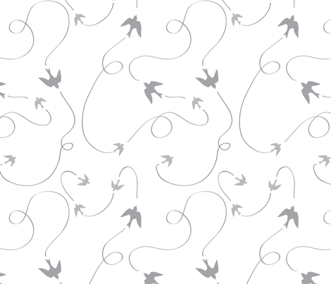 Summer Sky - flying Swallows grey Silhouettes fabric by sonstnochwas on Spoonflower - custom fabric