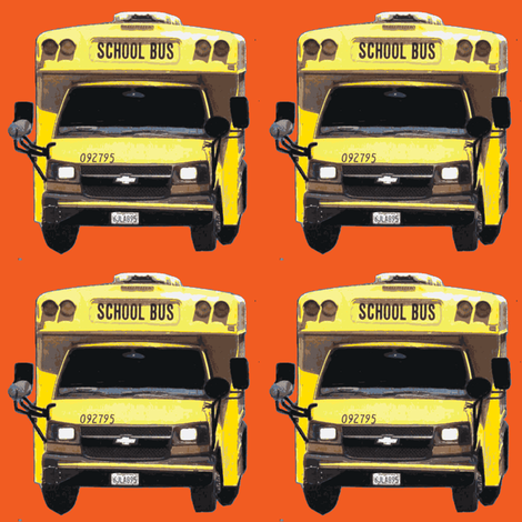 little yellow school bus on orange fabric by edsel2084 on Spoonflower - custom fabric