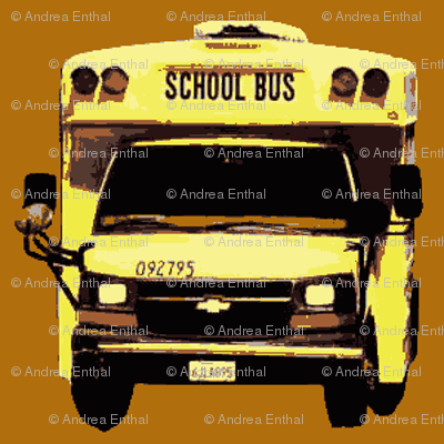 little yellow school bus on caramel
