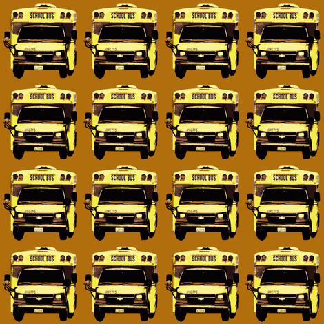 little yellow school bus on caramel fabric by edsel2084 on Spoonflower - custom fabric