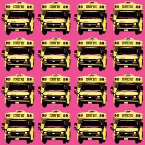 little yellow school bus on bright pink