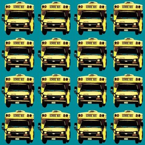 little yellow school bus on teal