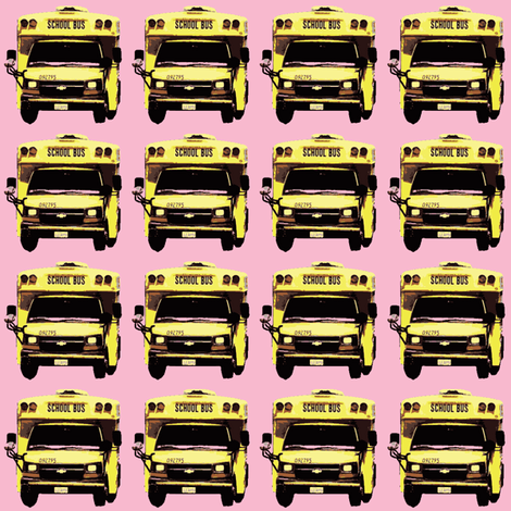 little yellow school bus on pink fabric by edsel2084 on Spoonflower - custom fabric