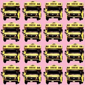 little yellow school bus on pink