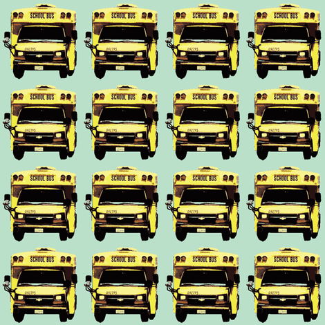 very little yellow school bus on mint green fabric by edsel2084 on Spoonflower - custom fabric