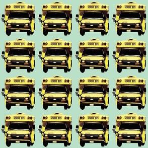 very little yellow school bus on mint green