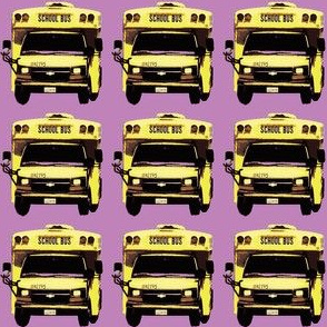 little yellow school bus on lavender
