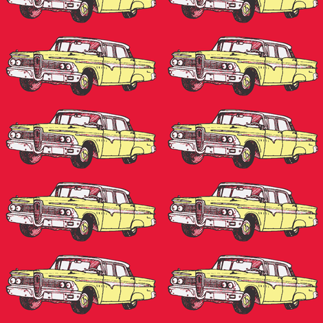 Yellow 1959 Edsel Ranger on red background fabric by edsel2084 on Spoonflower - custom fabric