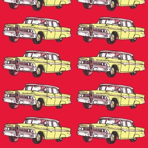 Yellow 1959 Edsel Ranger on red background