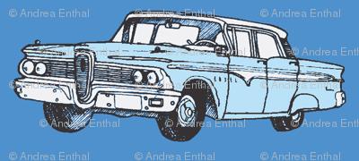 Blue 1959 Edsel Ranger on blue background