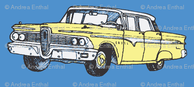 Yellow 1959 Edsel Ranger on blue background