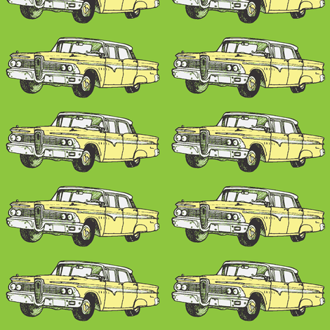 Yellow 1959 Edsel Ranger on green background fabric by edsel2084 on Spoonflower - custom fabric