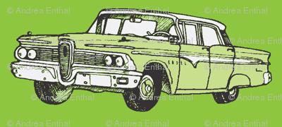 green 1959 Edsel Ranger on olive background