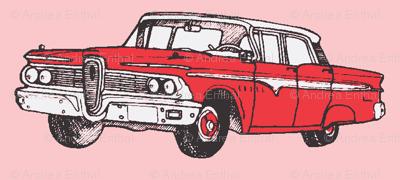 red 1959 Edsel Ranger on pink background