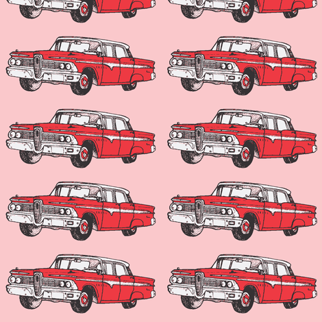 red 1959 Edsel Ranger on pink background fabric by edsel2084 on Spoonflower - custom fabric