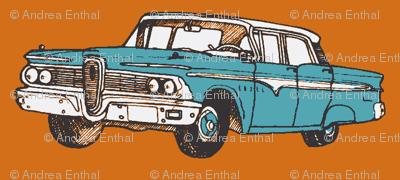 aqua 1959 Edsel Ranger on rust background
