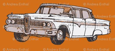 white 1959 Edsel Ranger on rust background