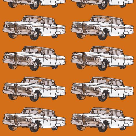 white 1959 Edsel Ranger on rust background fabric by edsel2084 on Spoonflower - custom fabric