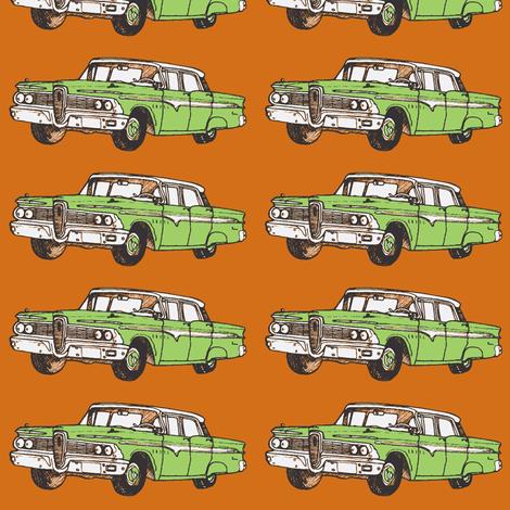 1959 Edsel Ranger 4 door hardtop, green on rust fabric by edsel2084 on Spoonflower - custom fabric