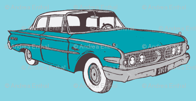 1960 Edsel Ranger 2 door sedan floating in sky blue