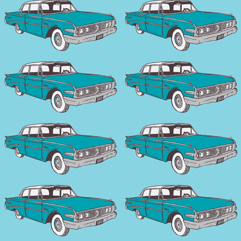 1960 Edsel Ranger 2 door sedan floating in sky blue fabric by edsel2084 on Spoonflower - custom fabric