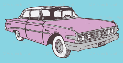 Lilac Metallic 1960 Edsel Ranger 2 door sedan on sky blue