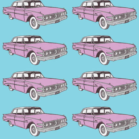 Lilac Metallic 1960 Edsel Ranger 2 door sedan on sky blue fabric by edsel2084 on Spoonflower - custom fabric