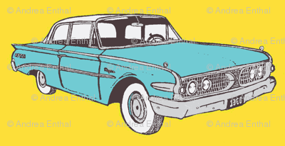 Big 1960 Edsel Ranger in aqua against a yellow background