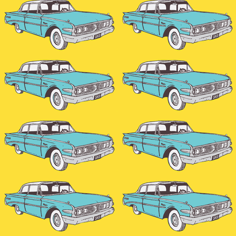 Big 1960 Edsel Ranger in aqua against a yellow background fabric by edsel2084 on Spoonflower - custom fabric