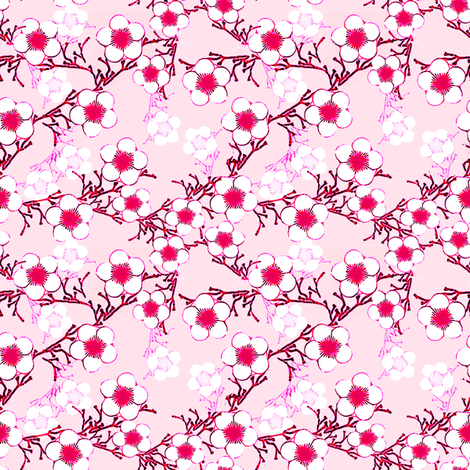 Cherry Blossoms fabric by joanmclemore on Spoonflower - custom fabric