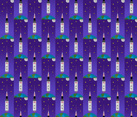 aidan's rockin rocket fabric by littlerhodydesign on Spoonflower - custom fabric