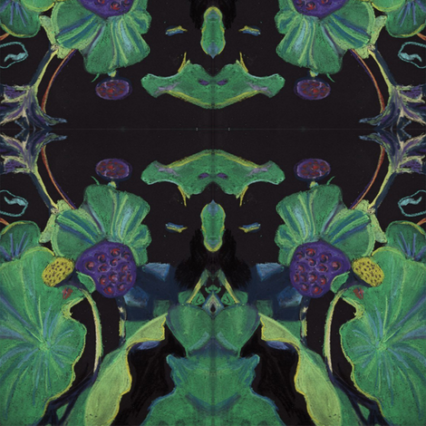 Lotus Pods Black fabric by snazzyfrogs on Spoonflower - custom fabric
