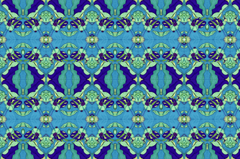Blue Lotus Pods fabric by snazzyfrogs on Spoonflower - custom fabric