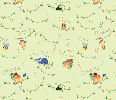 wild_alphabet fabric by kimberley302 on Spoonflower - custom fabric