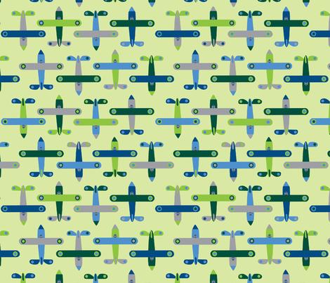 avion_vert fabric by nadja_petremand on Spoonflower - custom fabric