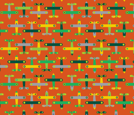 avion_orange fabric by nadja_petremand on Spoonflower - custom fabric