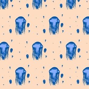 Blue on Cream Jelly Fish