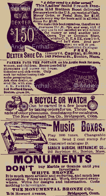 1890's fashion and entertainment ads
