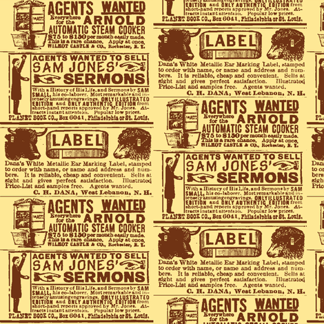 Agents Wanted to Sell Sam Jones' Sermons fabric by edsel2084 on Spoonflower - custom fabric
