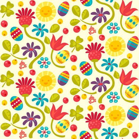 Floral Easter pattern fabric by irrimiri on Spoonflower - custom fabric