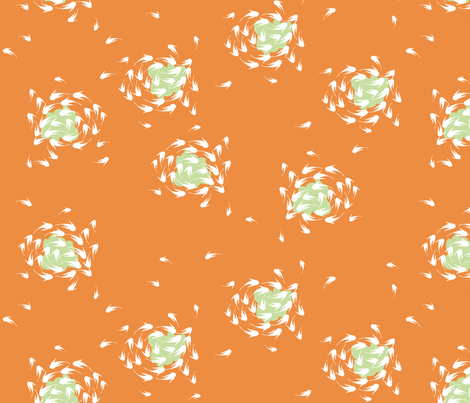 "KOI, ""WHITE on TANGERINE"" fabric by trcreative on Spoonflower - custom fabric"