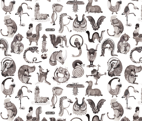 A is for animal! fabric by teken-ing on Spoonflower - custom fabric