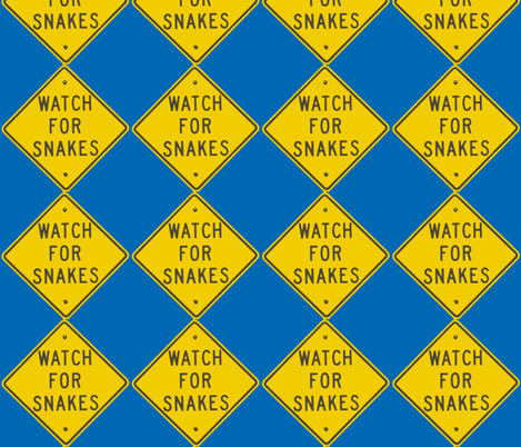 Texas Signs - Watch for Snakes fabric by susaninparis on Spoonflower - custom fabric
