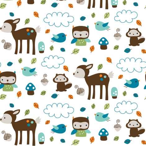 Woodsie Cuties - In Blues fabric by misstiina on Spoonflower - custom fabric