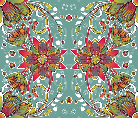 Floral Rainbow fabric by fuzzyskyfabric on Spoonflower - custom fabric