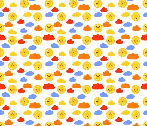 Sunny sunshine   white fabric by irrimiri on Spoonflower - custom fabric