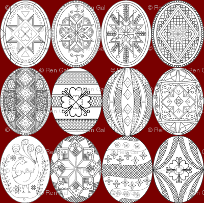 Large Pysanky, Easter Eggs on red background