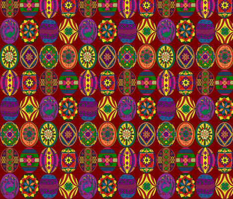 Colored Pysankys fabric by rengal on Spoonflower - custom fabric