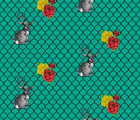 teal-lattice-jackalope fabric by trollop on Spoonflower - custom fabric