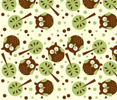 Owl Forest Cream from the Owl Luhv Collection fabric by jpdesigns on Spoonflower - custom fabric